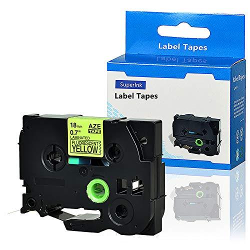 Laminated 3/4' Tz Tape Cartridges - SuperInk 1 Pack Compatible TZe-C41 TZ-C41 TZC41 TZeC41 TZe Tape 18mm 0.7'' Laminated Black on Fluorescent Yellow Label Tapes Cassette use for P-Touch Labeler Label Maker 16.4ft 5m