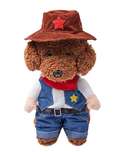 (OSPet Pet Costume West CowBoy Uniform with Hat Funny Dog Cowboy Clothing Halloween Costume for Small)