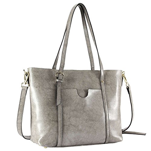 Women's Tote Bag, Bagerly Leather Tote Purse Top-zip Handbags Large Shoulder Bag Top Handle Satchel Handbags (Grey) Tote Top Zip Handbag