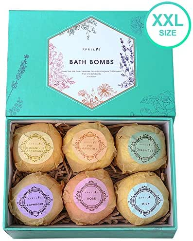 Aprilis Bath Bombs Gift Set, Organic & Natural Bath Bomb, Lush Fizzy Spa to Moisturize Skin with Shea Essential Oils, Perfect Birthday Gift for Women Best Friends, Mom & Kids, Large 4.0 oz x 6