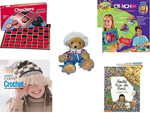 Girl's Gift Bundle - Ages 6-12 [5 Piece] - Checkers Folding Board Game - Crunch Art Fun Fabric Creations Toy - Papel Freelance Bearly Scary A Bear in Disguise Plush - Family Circle Easy Crochet: 50