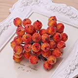 Pack of 40 Christmas Frosted Berries Mini Artificial Foam Frosted Fruit Berry Ornament DIY Christmas Tree Decoration(Orange)