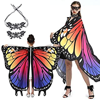 Butterfly Wings Halloween Costumes for Women Girl with 2pcs Lace Mask, Enjoy Your Party Family Fun 2pack-Gradient Sunset