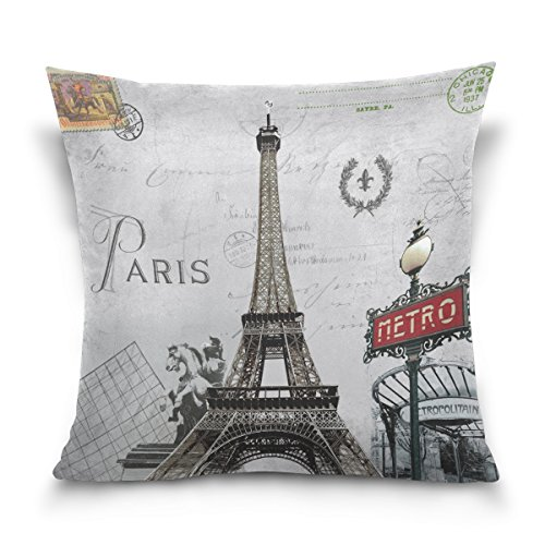 ALAZA Paris Eiffel Tower Vintage Retro Cotton Pillowcase 18 X 18 Inches Twin Sides, European City Landmark Pillow Case Sham Cover Protector Decorative for Home Hotel Couch (Paris Standard Sham)