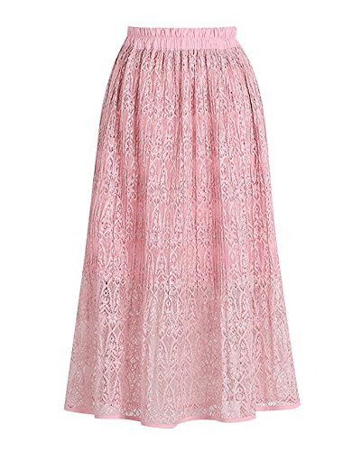 A Longue Maxi Vintage Pliss Rose lgant Rtro Plage Line Dentelle Femme Robe Jupe Bohme EqXCZ0qw