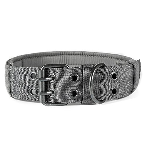 OneTigris Military Adjustable Dog Collar with Metal D Ring & Buckle 2 Sizes (L, Grey)