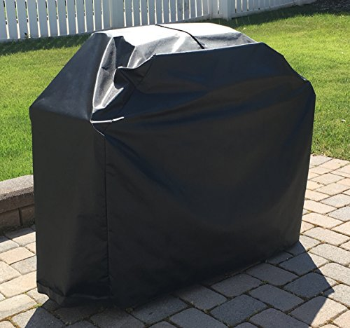 CB Grill Cover for Weber Spirit E-210 Gas Grill TABLES UP ( Trays Up ) Outdoor Waterproof Black Cover By Comp Bind Technology - 50''W x 24''D x 45''H