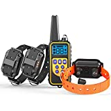 Dog Training Collar for 3 Dogs, Veckle Waterproof and Rainproof 2600ft Remote Dog Collar for Training Sprayproof Beep Vibration Shock Training Collar with LED for Medium and Large Dogs, Rechargeable