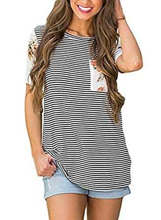 Uideazone Teen Girls Black and White Striped Shirt Short Sleeve Tee with Pocket,Black White,Small
