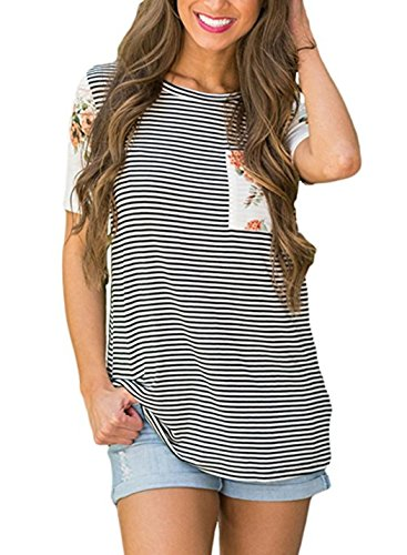 Uideazone Women Loose Striped Crew Neck Short Sleeve T-Shirt Tops Blouse