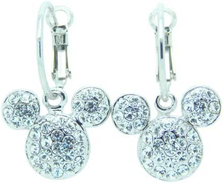 Poonsuk@lucky Silver Plated Mickey Mouse Birthstone with Crystal Diamond Hoops Earrings Super Sale!!!!!