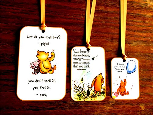 (Classic Winnie the Pooh quotes on 12 party tags small, medium, large with or without ribbon)