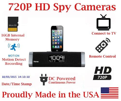 (SecureGuard iHome iPhone Dock ID45 720P Spy Camera SD Card DVR Hidden Nanny Camera)