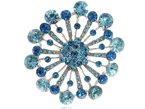Aqua Blue Crystal Starburst Snowflake Flower Firework Adjustable Costume Ring (Starburst Ring Adjustable)