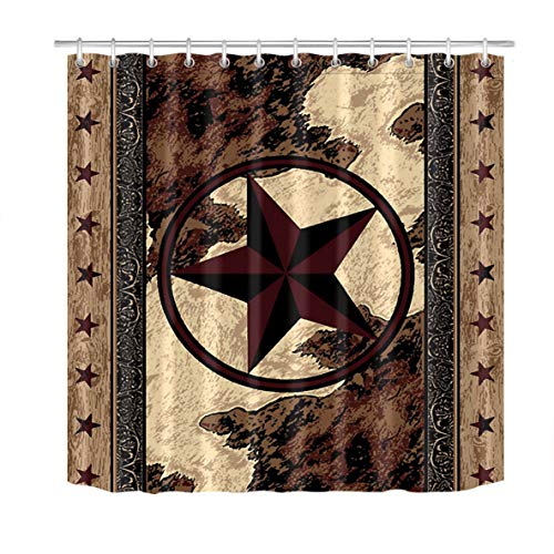 LB Western Texas Star Shower Curtain Vintage Style Stars on Wood Panel Print Rustic Shower Curtains for Bathroom Waterproof Fabric 72x72 Inch with Hooks (Shop Shower Curtain)