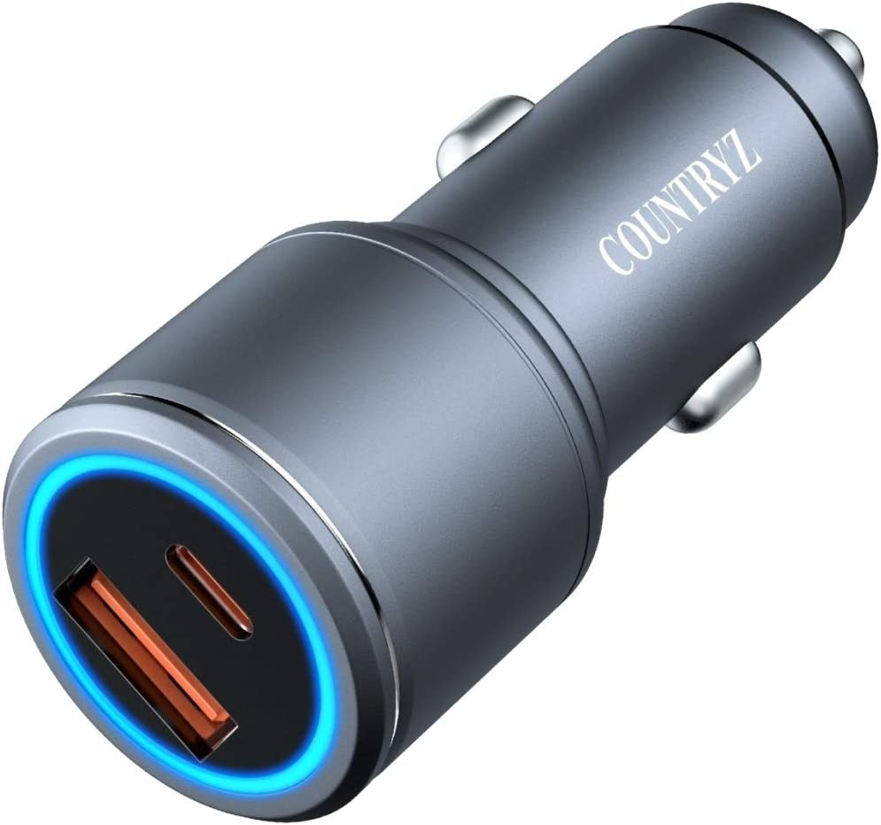 Car Charger,54W,Fast Charger Adapter Type C,QC/&PD 3.0,All Metal with Blue LED Compatible for iPhone 12 11 Pro MAX//XS//XR//8//SE,Samsung Galaxy S20//Note 10//Plus