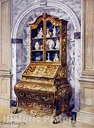 Historic Pictoric 1910 Print | Inlaid walnut bombe bureau-cabinet. Parnham collection, Beaminster, ca. 1725. | Vintage Wall Art | 24in x 32in