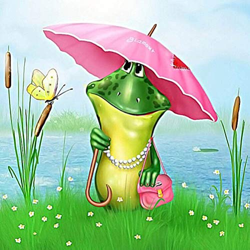 ViewHuge 5D Diamond DIY Painting by Number Kits,Resin Full Square Drill Embroidery Paintings Pictures Arts Craft Kit Home Wall Decor-Frog