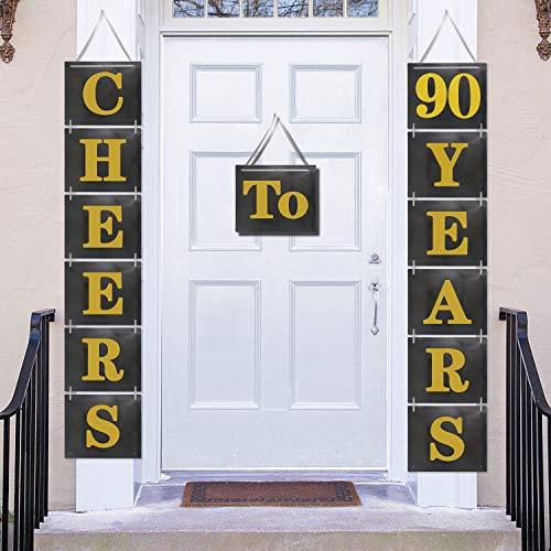 Cheers to 90 Years Hanging Door Banner