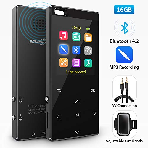 16GB MP3 Player with bluetooth4.2, MP3 Direct Recording, Portable Lossless Digital Audio Player with FM Radio/Voice Recorder, Pedometer with an Armband, Touch Buttons, Support up to 128gb, -