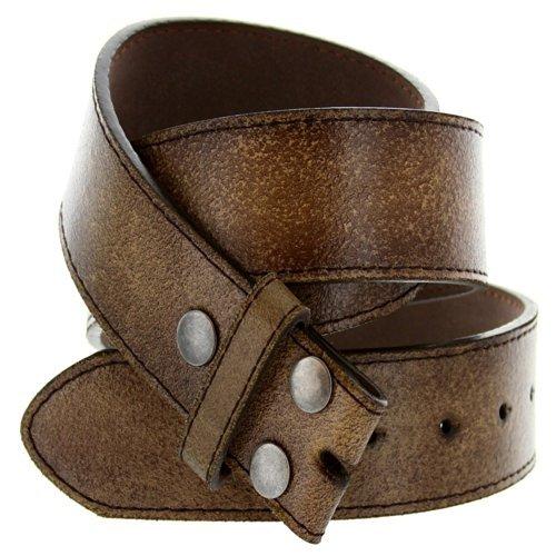 Men's Vintage Look Distressed Leather Strap Belt Snap On (S(30