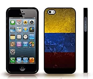 Case For Sam Sung Galaxy S4 I9500 Cover with Colombia Flag Distressed Grunge Look Design , Snap-on Cover, Hard Carrying Case (Black)