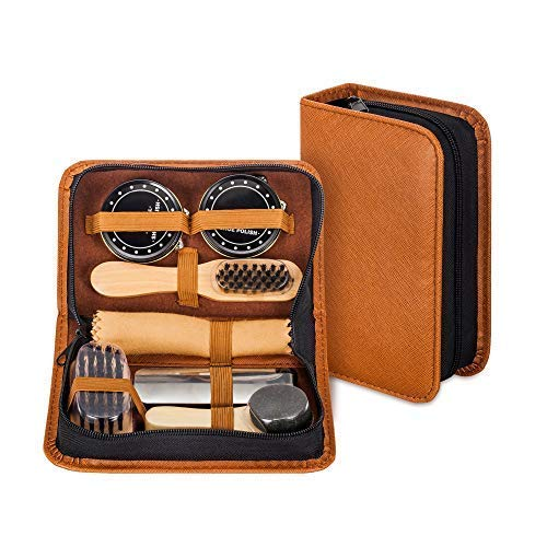 Shoe Shine Kit with PU Leather Sleek Elegant Case, 7-Piece Travel Shoe Shine Brush kit (Small Shoe Shine Kit)