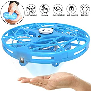 Hand Operated Drones for Kids, WEW T1 Flying Toys Mini Drone for Boys and Girls, 2 in 1 Fidget Spinner UFO Drone Hand Controlled, Easy Indoor Flying Saucer Toy for Kids Adult - Blue