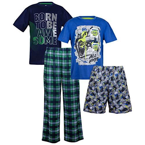 Sleep On It Boys 4 Piece Summer Pajama Set - Short Sleeve with Pant & Short Sets (2 Full Sets) Navy/Blue