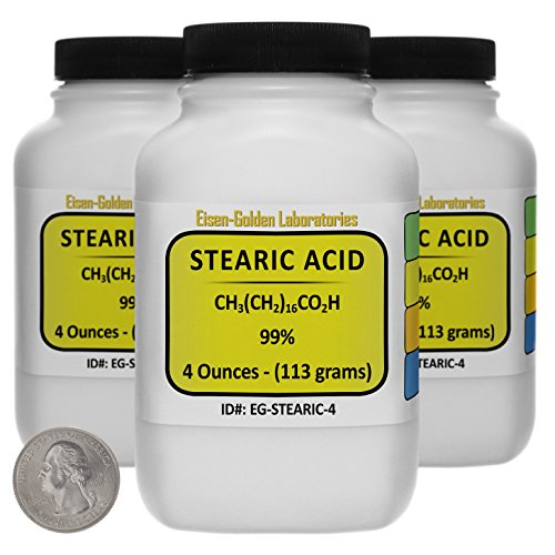 Stearic Acid [C18H36O2] 99% ACS Grade Flakes 12 Oz in Three Space-Saver Bottles USA Candle 12 Oz 340g