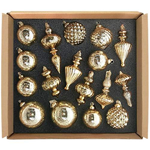 GLASSBALL Size M Gold Christmas Mercury Glass Ornament Tree Decoration (17 Ornaments) (Mercury Ornament)