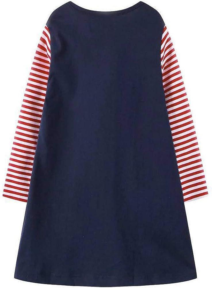 Hstore Toddler Kids Baby Girls Christmas Elk Stripe Princess Dress Cotton Skirts Clothes