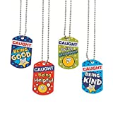 Fun Express Caught Being Good Responsible Helpful Kind Student Character Reward Medal Dog Tag Necklaces - 12 Pieces