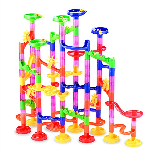 Gifts2U Marble Run Toy, 130Pcs Educational Construction Maze Block Toy Set with Glass Marbles for Kids and Parent-Child Game -