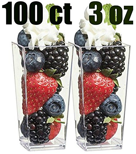 Zappy 100 3oz Tall Square Mini Dessert Cups Plastic Dessert Cups Tasting Plastic Shot Glass Shooter Cups Parfait Glasses Appetizer Bowls Trifle Bowl Tumbler Shooter (3oz Dessert Cups 100Ct) (Shooter Shot)