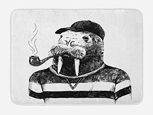 Ambesonne Indie Bath Mat, Hand Drawn Dressed up Walrus Animal Long Teeth Smoking Pipe Antromorphic Sketch Art, Plush Bathroom Decor Mat with Non Slip Backing, 29.5