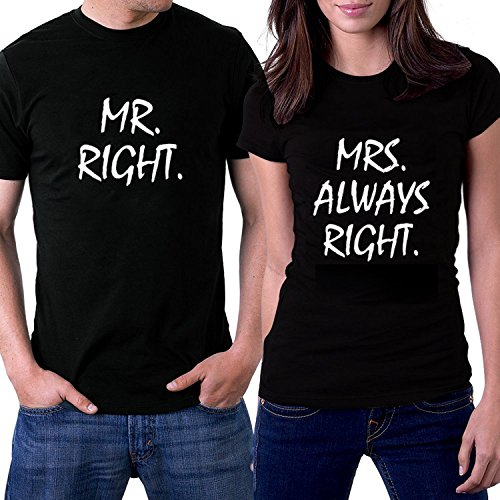 Idgreatim Mr. Right and Mrs. Always Right Lovely Matching Couple T Shirts Engagement Gifts For Couples Black