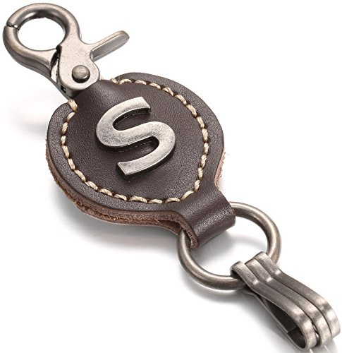 Brown Leather Alphabet Keychain, Single Letter with Easy Clasp Key - by Marino Ave - S - onesize