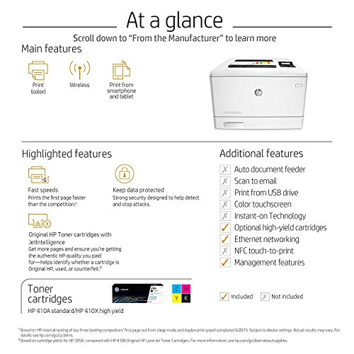 HP Laserjet Pro M452nw Wireless Color Laser Printer with Built-in Ethernet, Amazon Dash Replenishment Ready (CF388A)