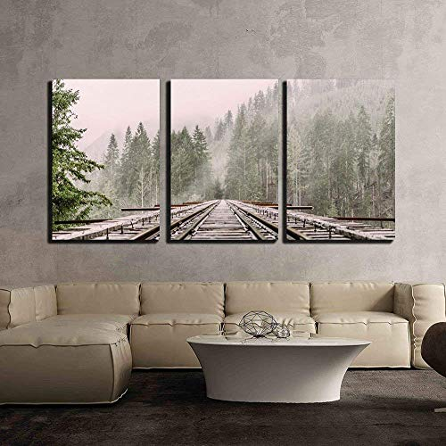 Railway Through The Pine Forest with Mist x3 Panels