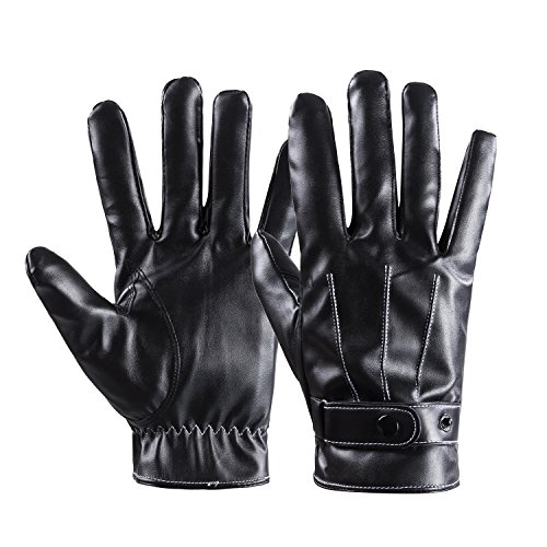 Winter Warm Gloves Mens Touch Screen Texting Leather Outdoor Driving Cycling Thick Cashmere Lining Gloves By Redess