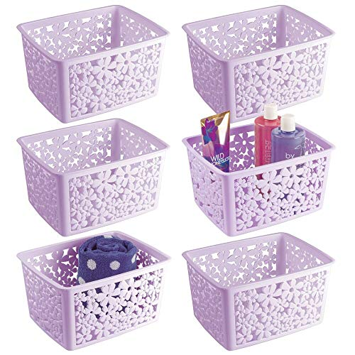 Floral Design Cabinet - mDesign Plastic Bathroom Storage Basket Bin for Organizing Hand Soaps, Body Wash, Shampoos, Lotion, Conditioners, Hand Towels, Hair Accessories, Body Spray - Large, Floral Design, 6 Pack - Purple