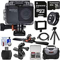 Vivitar DVR794HD 1080p HD Wi-Fi Waterproof Action Video Camera Camcorder (Black) + Remote, Vented Helmet & Bike Mounts + 32GB Card + Case + Tripod Kit