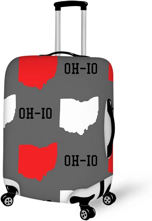 New Oh-io State map Gray Washable Foldable Luggage Cover Protector Fits18-21 Inch Suitcase Covers