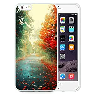 NEW Unique Custom Designed iPhone 6 Plus 5.5 Inch Phone Case With Red Trees Autumn Path_White Phone Case