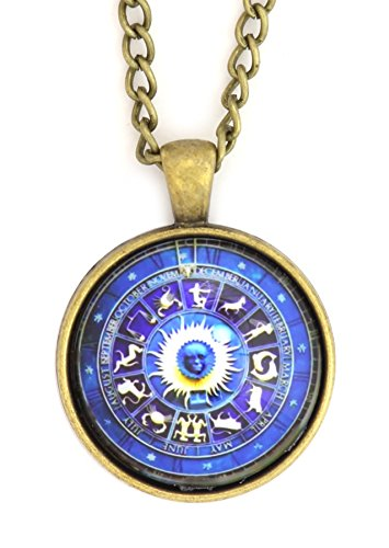 Magic Metal Zodiac Wheel Necklace Antique Gold Tone NS23 Astrology Medallion Pendant Fashion Jewelry