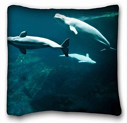 Custom Characteristic ( Animals WHITE WHALE underwater world Fins tail ) Pillowcase Cushion Cover Design Standard Size 16x16 inches One Sides suitable for X-Long Twin-bed PC-Bluish-2507