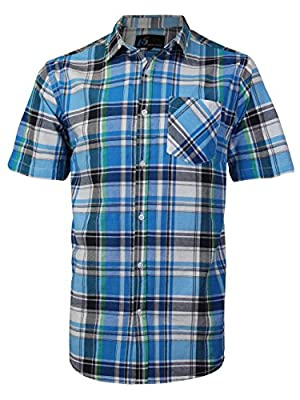 vkwear Men's Plaid Checkered Button Down Casual Short Sleeve Dress Shirt