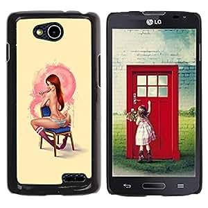 YOYOYO Smartphone Protección Defender Duro Negro Funda Imagen Diseño Carcasa Tapa Case Skin Cover Para LG OPTIMUS L90 D415 - sexy pin up girl pelirroja pecas amarilla