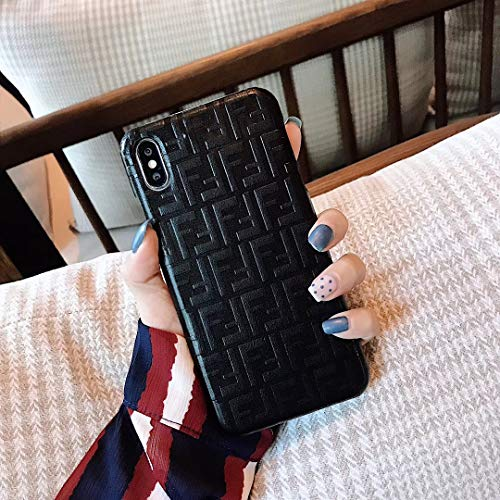 FF Monogram Style x PU Leather Case for Apple iPhone (Black, iPhone7/8 Plus)